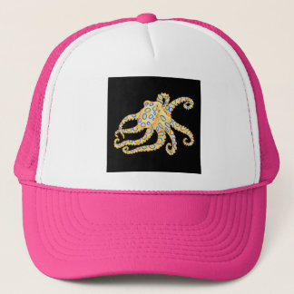 Blue Ring Octopus on Black Trucker Hat
