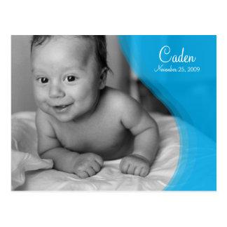 Blue Ripple Photo Birth Announcement Postcard