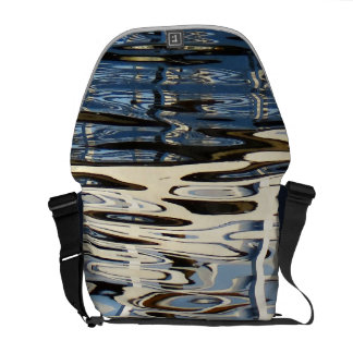 Blue River Reflections Abstract Messenger Bag