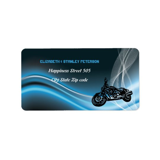 Blue road biker wedding address label