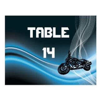 Blue road biker wedding table number postcard