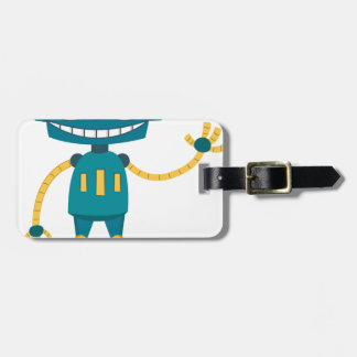 Blue Robot Luggage Tag