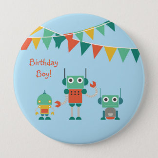 Blue Robot Party Personalized Birthday Button