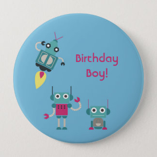 Blue Robot Personalized Birthday Button
