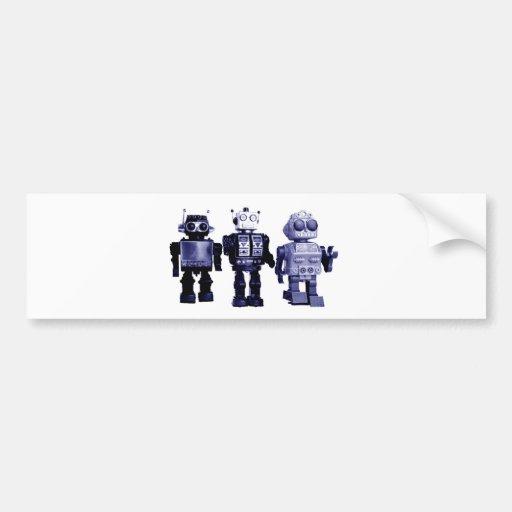 blue robots bumper sticker car bumper sticker