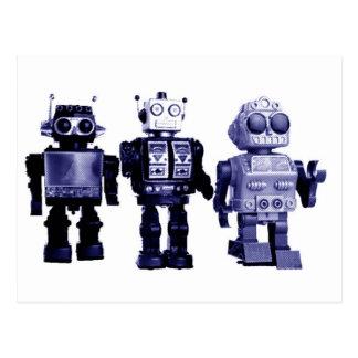 blue robots postcard