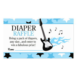 Blue Rock Star Baby Shower Diaper Raffle Business Card Templates