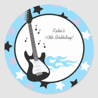 Blue Rock Star Birthday Favor Stickers