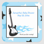 Blue Rock Star Guitar SQUARE Favour Sticker