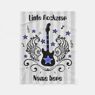 Blue Rock star guitar with wings Fleece Blanket