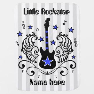 Blue rocker star guitar with wings custom baby blanket