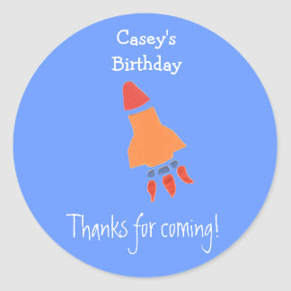 Blue rocket birthday favor label round sticker