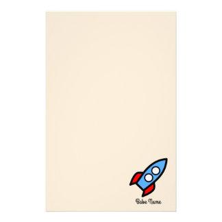 Blue rocket flying. stationery