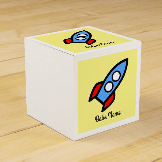 Blue rocket flying. wedding favour boxes
