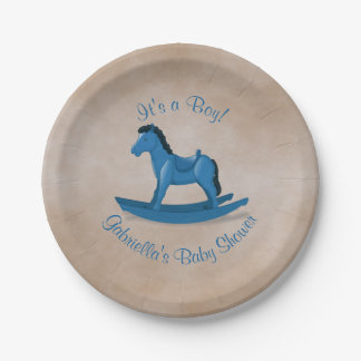 Blue Rocking Horse Baby Shower 7 Inch Paper Plate