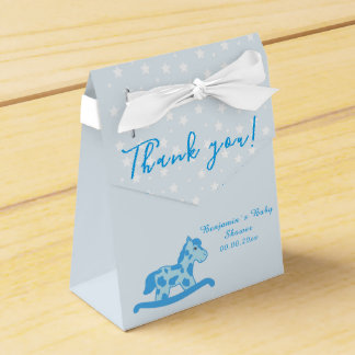 Blue Rocking Horse Baby shower Party favor box