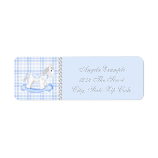 Blue Rocking Horse Baby Shower Return Address Label