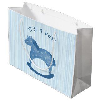 "Blue Rocking Horse ""It's a Boy"" Gift Bag Large Gift Bag"