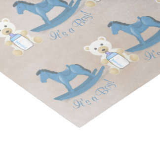Blue Rocking Horse IT'S A BOY! Tissue Paper