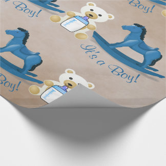 Blue Rocking Horse IT'S A BOY! Wrapping Paper