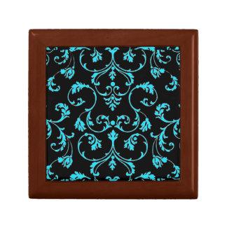 blue rococo design pattern for keepsake box