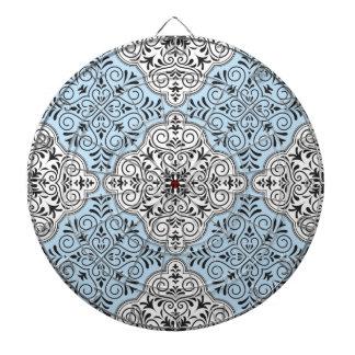 Blue Rococo Pattern Flourish Dartboard