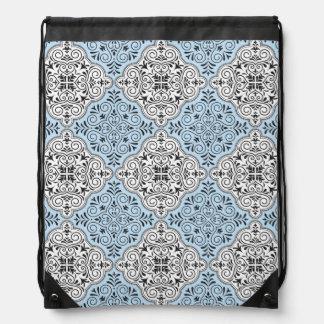 Blue Rococo Pattern Flourish Drawstring Bag