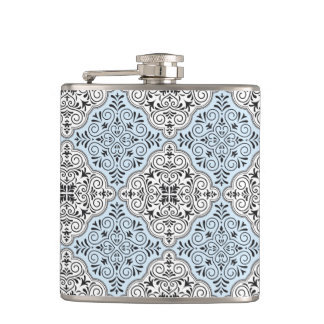 Blue Rococo Pattern Flourish Hip Flask