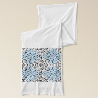 Blue Rococo Pattern Flourish Scarf