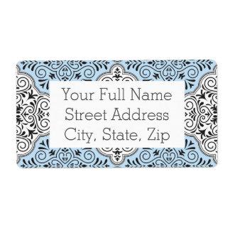 Blue Rococo Pattern Flourish Shipping Label