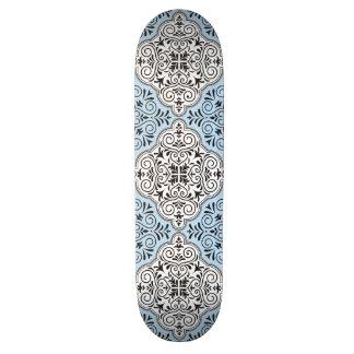 Blue Rococo Pattern Flourish Skateboard Deck