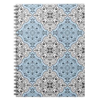 Blue Rococo Pattern Flourish Spiral Notebook