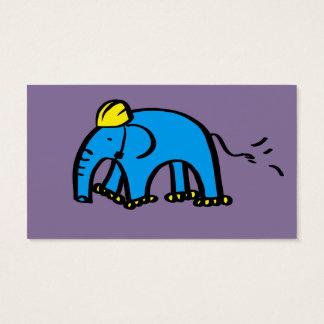 Blue Rollerblading Elephant w/ Yellow Helmet