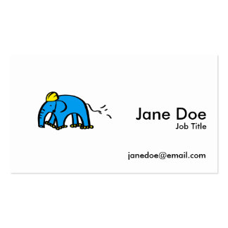 Blue Rollerblading Elephant w/ Yellow Helmet Pack Of Standard Business Cards