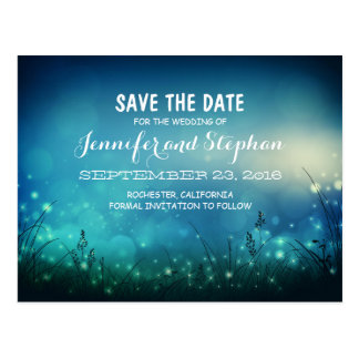 blue romantic night lights save the date postcards