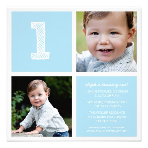 Blue Room for Squares First Birthday Party Photo Announcement