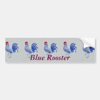 Blue Rooster Cock-a-doodle-doos Car Bumper Sticker