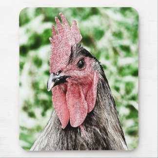 Blue Rooster Digital Art Mouse Pad