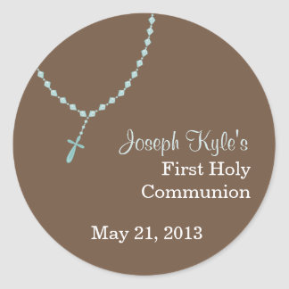 Blue Rosary Round Sticker