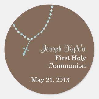 Blue Rosary Round Sticker