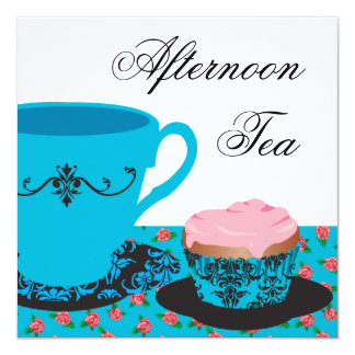 "Blue Rose Afternoon Tea 5.25"" Square Invitation Card"
