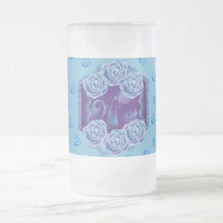 Blue rose and Blue cat blue rose blue cat Frosted Glass Beer Mug