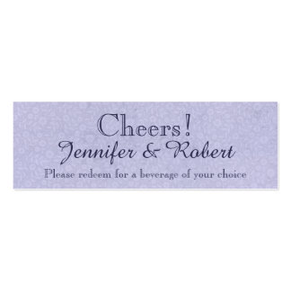 Blue Rose and Butterfly Wedding Drink Tickets Business Card Template