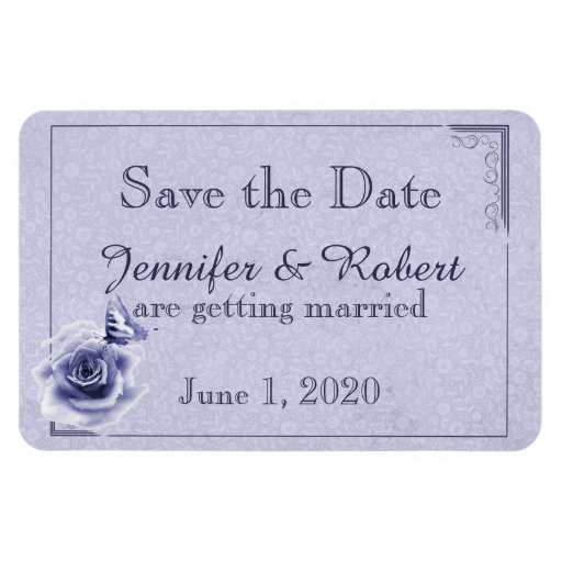 Blue Rose and Butterfly Wedding Save the Date Vinyl Magnet