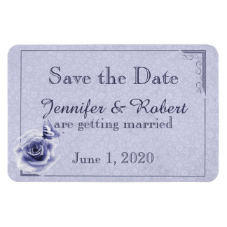 Blue Rose and Butterfly Wedding Save the Date Rectangular Photo Magnet