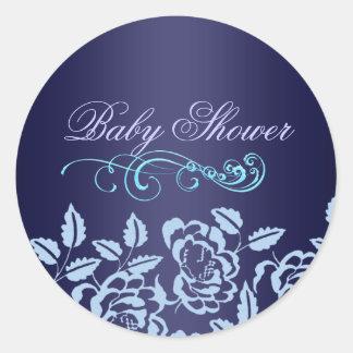 Blue Rose Baby Shower Envelope Sticker/seal Round Sticker