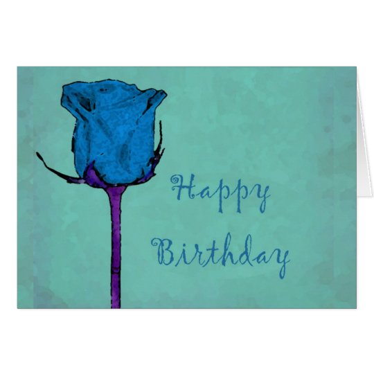 Blue Rose Birthday Card