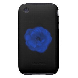 Blue Rose, Black Background. Tough iPhone 3 Cover