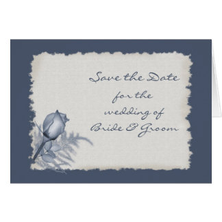 Blue Rose Bud - Save the Date Card