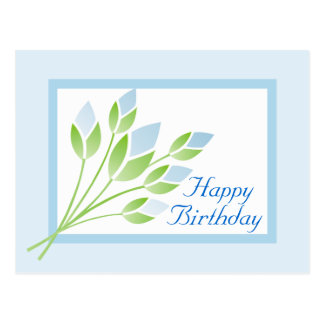 Blue Rose Buds Happy Birthday Postcard